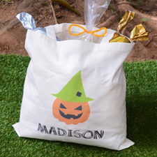 Pumpkin Hat Personalized Trick Or Treat Bag