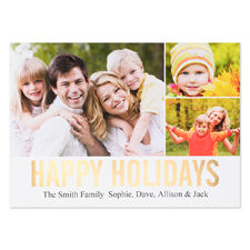 Collage Happy Holidays Gold Foil Personalized Photo Card