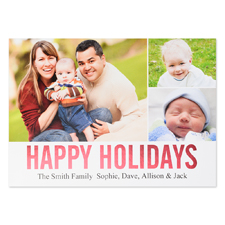 Collage Happy Holidays Red Foil Personalized Photo Card