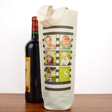 Black Stripe Collage Personalized Cotton Wine Tote
