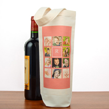Hot Pink Collage Personalized Cotton Wine Tote Bag