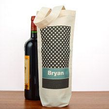 Polka Dot Personalized Cotton Wine Tote Bag