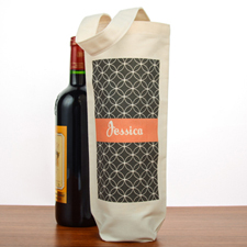 Geometric Pattern Personalized Cotton Wine Tote Bag