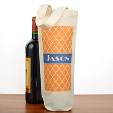 Moroccan Personalized Cotton Wine Tote Bag