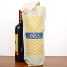 Yellow Chevron Personalized Cotton Wine Tote Bag
