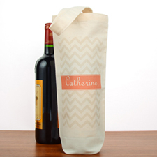 Grey Chevron Personalized Cotton Wine Tote Bag