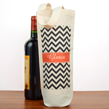Black Chevron Personalized Cotton Wine Tote Bag
