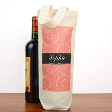 Swirl Personalized Cotton Wine Tote Bag
