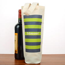 Navy Lime Stripe Personalized Cotton Wine Tote Bag