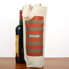 Red Grey Stripe Personalized Cotton Wine Tote Bag