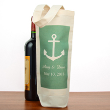 Anchor Personalized Cotton Wine Tote Bag