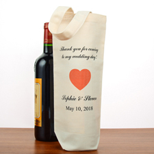 Wedding Thank You Personalized Cotton Wine Tote Bag