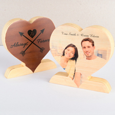 Always and Forever Wooden Photo Heart