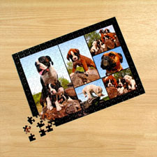 Personalized Black 6 Collage 12X16.5 Photo Puzzle