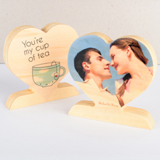 You're My Cup Of Tea Wooden Photo Heart