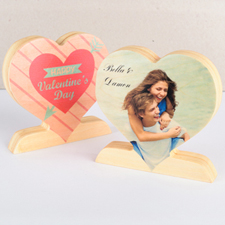 Love Arrow Wooden Photo Heart