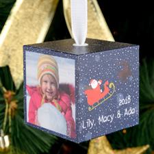 Santa Personalized Wooded Photo Cube 2