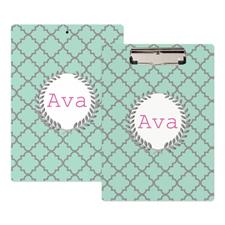Aqua Clover Personalized Clipboard