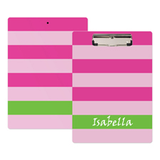 Pink Stripe Personalized Clipboard