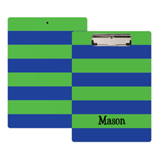 Green Navy Stripe Personalized Clipboard