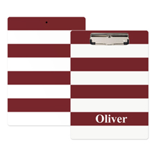 Red White Stripe Personalized Clipboard