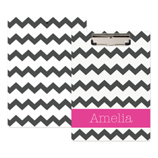 Grey Chevron Personalized Clipboard
