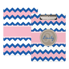 Blue Pink Chevron Personalized Clipboard