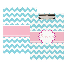 Aqua Chevron Personalized Clipboard