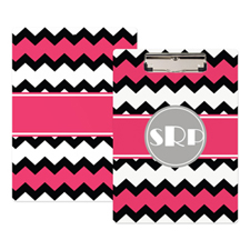 Black Pink Chevron Personalized Clipboard