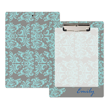 Grey Aqua Damask Personalized Clipboard
