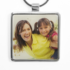 Personalized Photo Square Metal Keychain (Large)