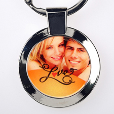 Love Personalised Photo Metal Keyring Round Small