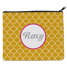 Yellow Quatrefoil Personalized 8X10 Cosmetic Bag