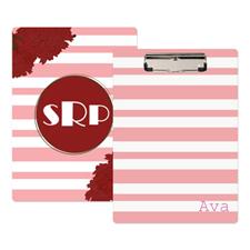 Pink Striped Floral Personalized Clipboard