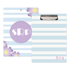 Ocean Striped Flower Personalized Clipboard