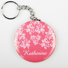 Pink Damask Personalized Button Keychain