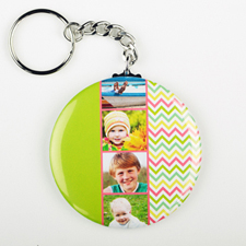 Chevron Collage Personalized Button Keychain