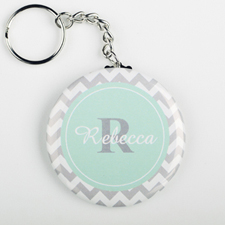 Grey Mint Chevron Personalized Button Keychain