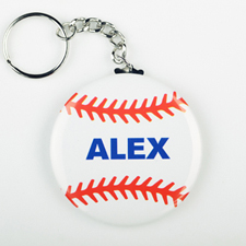 Baseball Personalized Button Keychain