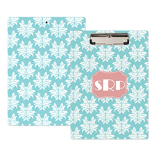 Aqua Damask Personalized Clipboard