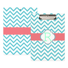 Peacock Chevron Personalized Clipboard