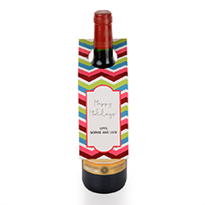 Chevron Holiday Personalized Wine Tag