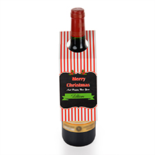 Strips and Merry Christmas Personalized Wine Tag, set of 6