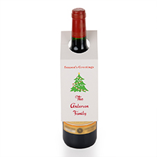 Season's Greeting Christmas Tree Personalized Wine Tag, set of 6