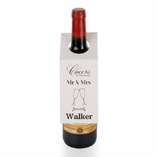 Mr. and Mrs. Personalized Wine Tag, set of 6