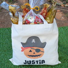 Pirate Jack O' Lantern Personalized Halloween Trick Or Treat Bag