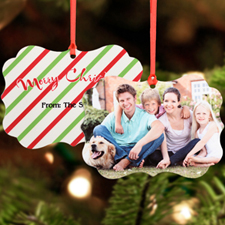 Christmas Stripes Personalized Metal Ornament