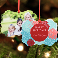 Holiday Bloom Personalized Metal Ornament