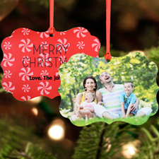 Merry Red Christmas Personalized Metal Ornament