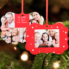Amazing Year Personalized Metal Square Ornament, Red